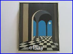 Vintage Surreal Painting Mod Architectural Geometric Abstract Signed Hal 1960's