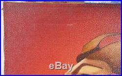Vintage Surrealist O/C Portrait Painting 1960-70's Unknown Artist Signed 19x28