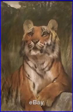 Vintage TIGER Wildlife Portrait, 1920s, Signed ARTHUR WARDLE, Pastel Painting