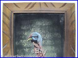 Vintage TURKEY on VELVET Oil Painting unusual framed signed retro Thanksgiving