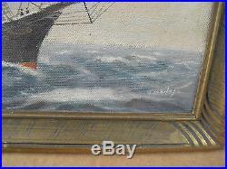 Vintage T BAILEY Oil Painting Ship on the Ocean Framed