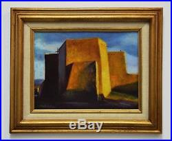 Vintage Taos New Mexico St. Francis Of Assisi Church Oil Painting Signed