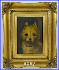 Vintage Terrier Dog Oil on Panel Painting Gold Leaf Frame