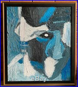 Vintage Textured Abstract Head Portrait Oil Painting Mid Century Modern Signed