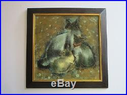 Vintage Thai Or Chinese Painting Signed Abstract Expressionism Kitten Cat Retro