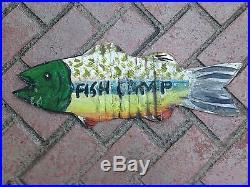 Vintage Tin Metal Fish Sign FISH CAMP Sign Original Paint