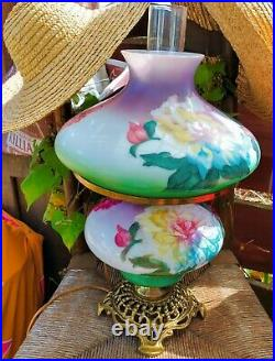 Vintage Tom Lambert Signed Gone With The Wind Hurricane Lamp Painted Flowers USA