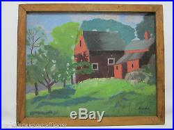 Vintage VERMONT Red Barn Summer Oil Painting Signed Anne Moore Impressionist