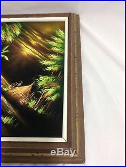 Vintage Velvet Tropical Painting Framed Sunset Island Tiki Hut Bar Signed 80s