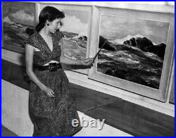 Vintage Virginia Lynn La Jolla California Seascape Ocean Oil Painting Cambria