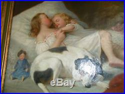 Vintage WOMAN CHILD & DOG Oil Painting Canvas Signed R. A. Fox