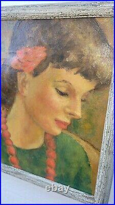 Vintage WPA Era American Oil Painting Gorgeous Female Figure Portrait Signed
