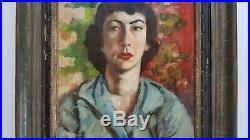 Vintage WPA Era California Artist Templeton Girl in the Blue Blouse Oil Painting