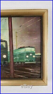 Vintage WPA Industrial Transportation American Railroad Subway Train Painting