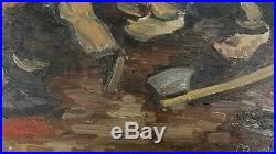 Vintage WPA style Loggers Workers Figures Impressionism Mid Century Oil Painting