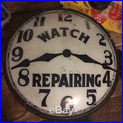 Vintage Watch Clock Repair Trade Sign Reverse Painted Bubble Glass, Lighted Neon