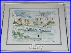 Vintage Watercolor Harborview of Sailboats by Jo Birdsey Lindberg Listed