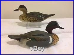 Vintage Wildfowler Green Winged Teal Duck Decoy Pair, Oliver Lawson Paint Signed