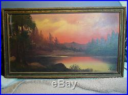 Vintage Willard Page Signed Lake River Water Mountains Landscape Oil Painting