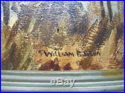 Vintage William P Silva Signed Naive Landscape ORIGINAL Oil / Board Painting yqz
