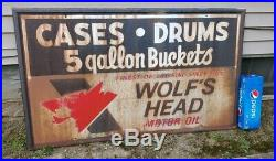 Vintage Wolfs Head Motor Oil Cases Drums Buckets Hand Painted Metal Sign 60x36