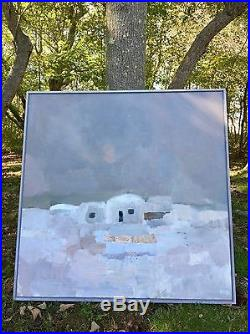 Vintage XL SWEDISH ABSTRACT LANDSCAPE oil/Canvas Painting SIGNED 1978 MODERNIST