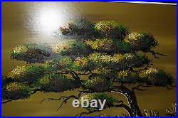 Vintage Yasu Eguchi Oil Painting On Board Green Tree By Water Seagulls LARGE