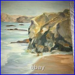 Vintage beach seascape coast ocean hand painted oil original PAINTING by Pauls