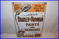 Vintage c. 1930 Bradley & Vrooman Paints Varnishes Gas Oil 2 Sided 22 Metal Sign