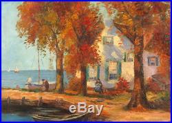 Vintage c. 1930's Oil/Canvas Waterfront Landscape / Genre Scene Illegibly Signed