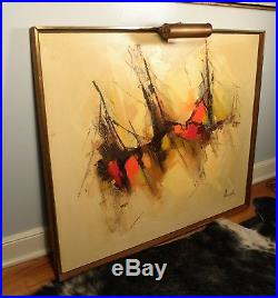 Vintage mid century modern abstract signed oil painting