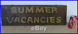 Vintage motel vacancies 2-sided wood trade sign, original paint