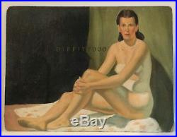 Vintage oil painting. 1940's nude woman. Original. Signed Helsinger