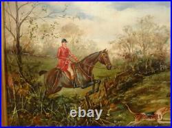Vintage oil painting English Fox Hunting