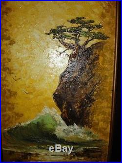 Vintage oil painting Framed wave rock bonsai tree lance artist signed MUST SEE