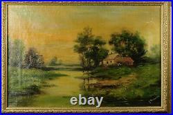 Vintage oil painting on canvas, landscape/rural scene 1930s Signed by artist