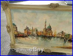 Vintage oil painting on canvas signed, water buildings scenery, very large