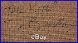 Vintage oil painting signed and By W. F. Burton The Kite