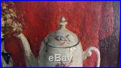 Vintage old Russian original signed oil impressionism painting Still Life