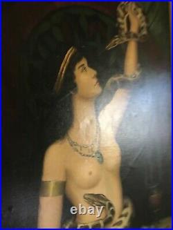 Vintage orientalist nude oil painting portrait snake charmer female reproduction