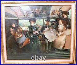 Vintage original Victorian figural train transit railroad scene oil painting art
