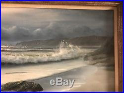 Vintage original signed oil painting A. Miller ocean beacon lighthouse coast