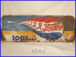 Vintage (pre-1940s) Pepsi Cola Sign-tops. Paint on Metal