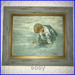 Vintage seascape child portrait hand painted original oil PAINTING by Aylaian