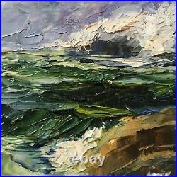 Vintage seascape coast hand painted original oil PAINTING beach small by Wilke