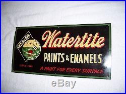 Vintage sign WATERTITE Paint 1950 embossed NICE
