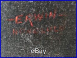 Vintage signed Bill Erwin Honolulu nude Painting on Velvet Bamboo Frame Leeteg