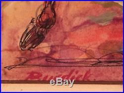 Vintage signed CHARLES BURDICK Charging bull Mixed Media Painting