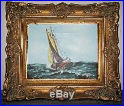 Vintage signed Hills Sailing Ship Rough Seas oil painting Framed