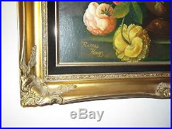 Vintage signed RICHARD HAINES wood 20 x 24 x 4 frame mountain lake oil painting